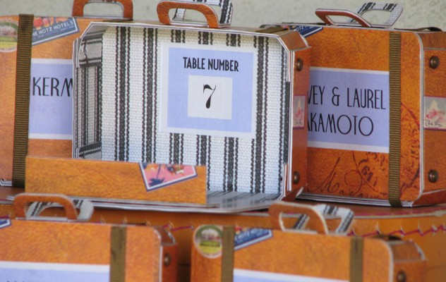 Vintage suitcase table numbers